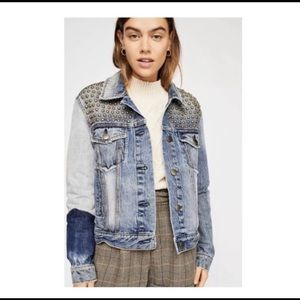 FREE PEOPLE Studded Patchwork Denim Jacket M